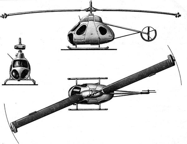 Вертолёт В-7 с реактивным приводом несущего винта. Проекции. Фото: kollektsiya.ru